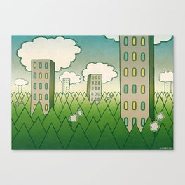 that in scare flew away to a forest with high grey trees. Canvas Print