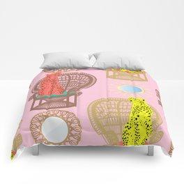 Rattan Cheetah Chairs + Mirrors Comforters