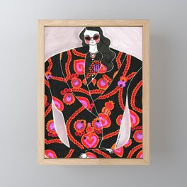 Anna Sui Girl in Fall 2018 – Original Fashion art, Fashion Illustration, Fashion wall art Framed Mini Art Print
