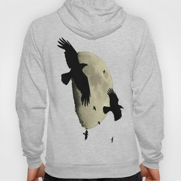 A Murder Of Crows Flying Across The Moon Hoody