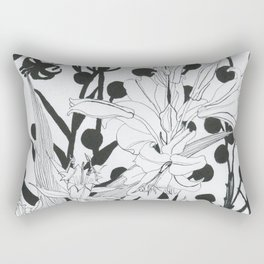 Vintage floral in black and white Rectangular Pillow