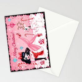 Christmas Pinup Girl with Reindeer Stationery Cards