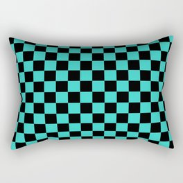 Black and Turquoise Checkerboard Rectangular Pillow