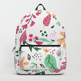 Modern hand drawn spring floral pattern pink green yellow flowers illustration Backpack