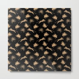 Wild African lions, exotic tropical plants whimsical ethnic tribal retro vintage chocolate brown and black nature pattern. Gift ideas for wildlife, lion and animal lovers. Metal Print