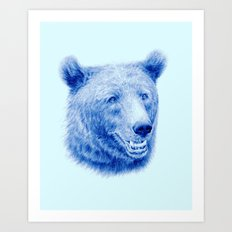 Brown bear is blue Art Print
