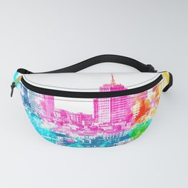 city at San Francisco, USA with colorful abstract background in pink blue yellow green Fanny Pack