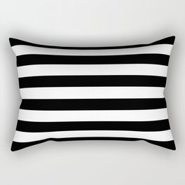 Stripe Black And White Horizontal Line Bold Minimalism Stripes Lines Rechteckiges Kissen