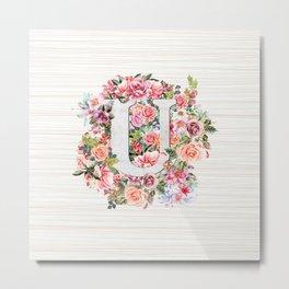 Initial Letter U Watercolor Flower Metal Print