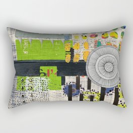 Lime & Navy Abstract Art Collage Rectangular Pillow