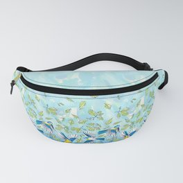 Flying Birds and Oak Leaves Border Fanny Pack