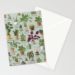 Potted Succulents and Leafy House Plants Pattern Stationery Cards