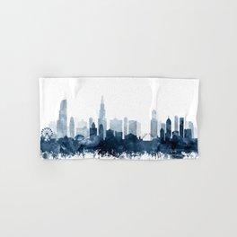 Chicago City Skyline Blue Watercolor by zouzounioart Hand & Bath Towel