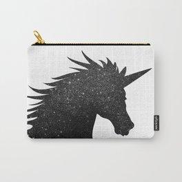 Black Glitter Unicorn Carry-All Pouch