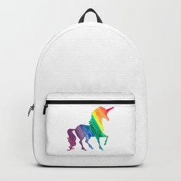 Rainbow Watercolor Unicorn Silhouette Backpack