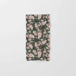 Loose Peonies and Poppies on Vintage Green Hand & Bath Towel
