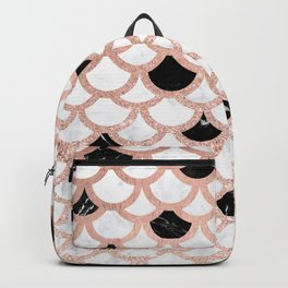 Girly rose gold black white marble mermaid scallop pattern Backpack