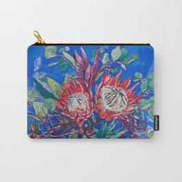 Painterly Bouquet of Proteas in Greek Horse Urn on Blue Carry-All Pouch
