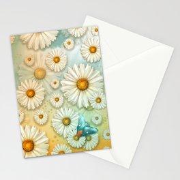 """Turquoise Moth &  Marguerites"" Stationery Cards"
