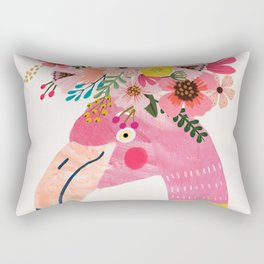 Pink flamingo with flowers on head Rectangular Pillow