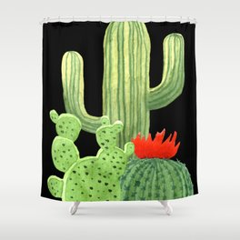 Perfect Cactus Bunch on Black Shower Curtain