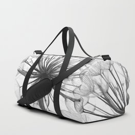 Black and White Dandelion Duffle Bag