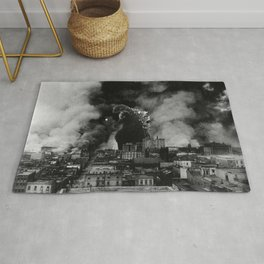 Old Time Godzilla San Francisco Fire Rug