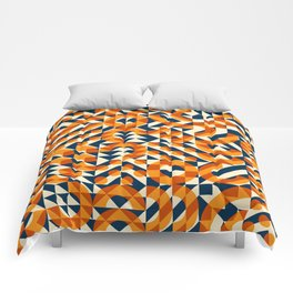 Orange Navy Color Overlay Irregular Geometric Blocks Square Quilt Pattern Comforters