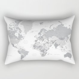 """Gray world map with cities, states and capitals, """"in the city"""" Rectangular Pillow"""