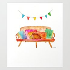 Porcupine hanging out Art Print