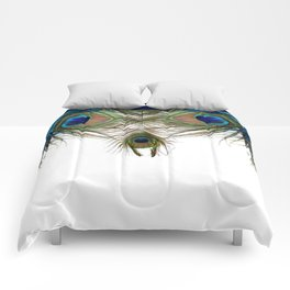 BLUE-GREEN PEACOCK FEATHERS WHITE ART Comforters