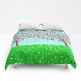 Sisters - Dogwood Trees in a Spring Meadow Comforters