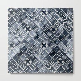 Simply Tribal Tiles in Indigo Blue on Lunar Gray Metal Print