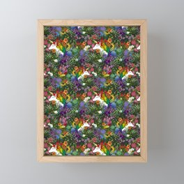 Unicorn in a Rainbow Garden Framed Mini Art Print