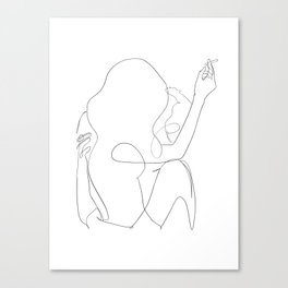 minimal line art - kiss Canvas Print
