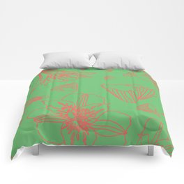 Pink Lily Flower Pattern on Sweet Green Comforters