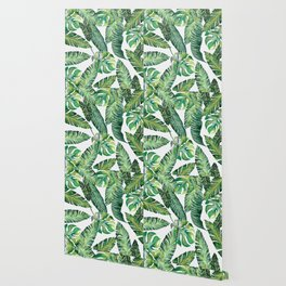 Jungle Leaves, Banana, Monstera #society6 Wallpaper