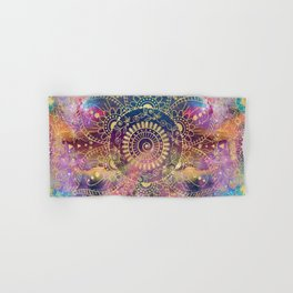 Gold watercolor and nebula mandala Hand & Bath Towel