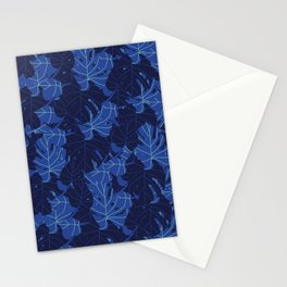 Leafy Blue Pattern Stationery Cards