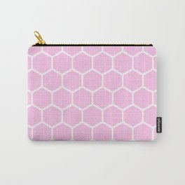 White and light pink honeycomb pattern Carry-All Pouch