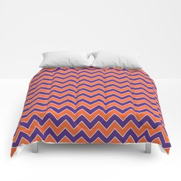 Orange and purple clemson chevron stripes university college alumni football fan gifts Comforters