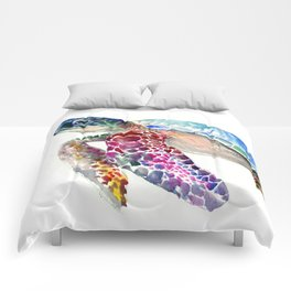 Sea Turtle, swimming turtle art, purple blue design animal art Comforters