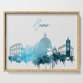 Rome Italy Monochrome Blue Skyline Serving Tray