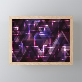 Spring pastel blueberry and aubergine shiny triangles. Framed Mini Art Print