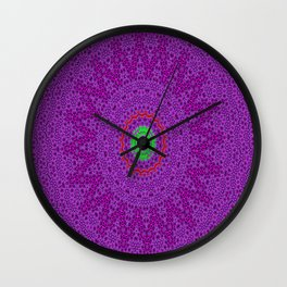 Lovely Healing Mandalas in Brilliant Colors: Purple, Pink, Red, Green and Brown Wall Clock