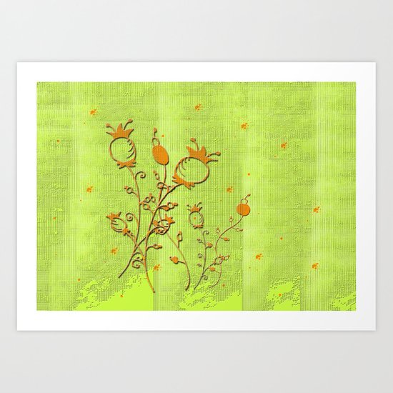 green with Flowers Art Print