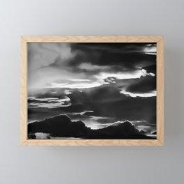 cloudy burning sky reacbw Framed Mini Art Print