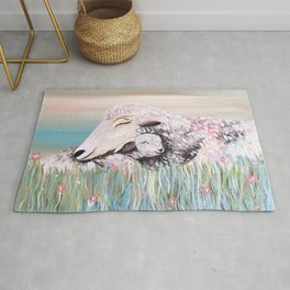 Mama Sheep and Baby Lamb Snuggling in the Meadow Rug