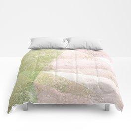 Frozen Geometry - Pink & Green Comforters
