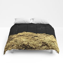 Rough Gold Torn and Black Marble Comforters